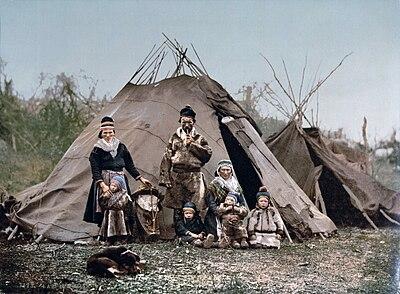 'n Samigesin in Lapland, Noorweë, ca. 1900.