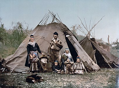 A Sami (Lapp) family in Norway around 1900.