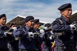 Malaysian Maritime Enforcement Agency - Members of MMEA during the 2013 Merdeka Day Parade in Kota Kinabalu, Sabah.