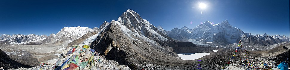 Panoramic view of Sagarmatha National Park-Gorak Shep to Pheriche. Khumbu icefall and Mount Everest are on the right side of the picture.