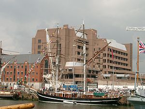 Sailing ship at Canning Dock, Liverpool.JPG