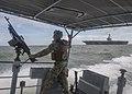 Sailor scans the horizon surrounding USS Abraham Lincoln. (29802143187).jpg