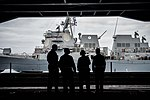 Sailors observe a refueling-at-sea USS Sampson from the hangar bay of USS Theodore Roosevelt. (36566322862).jpg