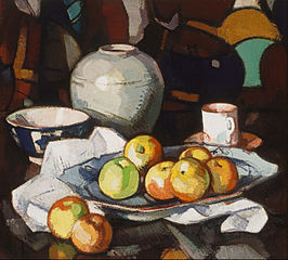 Still life: apples and jar