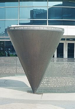Adam Smith's Spinning Top, sculpture by Jim Sanborn at Cleveland State University Sanborn-CSU.jpg