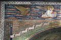 Sant'apollinare in classe, mosaici dell'arcone, cristo benedicente tra i simboli degli evangelisti (IX sec.) e 12 agnelli che escono da gerusalemme e betlemme (VII sec.) 02.jpg
