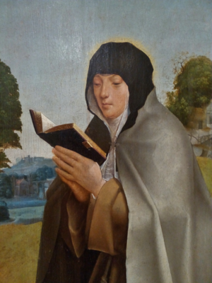 Colette of Corbie - Saint Colette (detail of Saint Clare and Saint Colette, c. 1520, by the Master of Lourinhã; National Museum of Ancient Art, Portugal)
