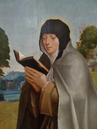 Colette of Corbie - Saint Colette (detail of Saint Clare and Saint Colette, c. 1520, by the Master of Lourinhã; National Museum of Ancient Art, Portugal)