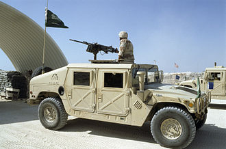 United Nations Operation in Somalia II - A Saudi Arabian (HMMWV) with a QCB machine gun mounted on top depart for the seaport of Mogadishu. The Saudis provided support for UNOSOM II.