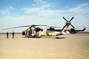 Saudi Arabian Army - Saudi Arabian army UH-60 Blackhawk helicopter during Operation Desert Shield.