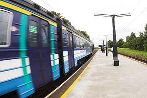 Rail transport in Estonia - A train embarking from Saue railway station