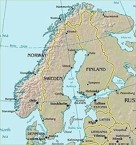 Carte de la Scandinavie.