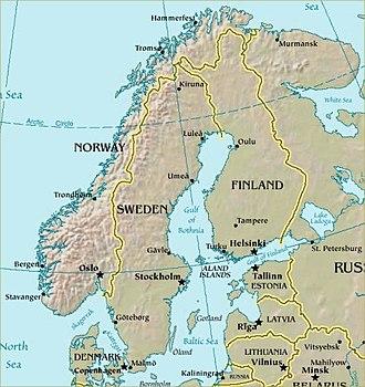 Scandinavian Peninsula - Relief map of the Scandinavian Peninsula