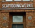 Schmiddingwerke Kupfer-Aluminium-Schmiede Apparate- und Maschinenbau Göttinger Chaussee 9 Hannover-Ricklingen Schriftzüge Verwaltungseingang.jpg