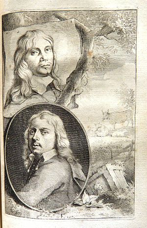 Jacob van der Does - Paulus Potter (lower left) and Jacob van der Does (upper left) by Arnold Houbraken.