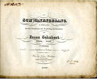 <i>Schwanengesang</i> Collection of songs written by Franz Schubert