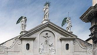 Ateneo Veneto - Pediment and  Madonna and Angels 1584 crowning the facade by Alessandro Vittoria