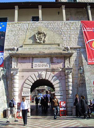 Fortifications of Kotor - The Sea Gate, main entrance to the old city.