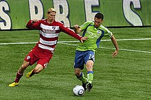 Brek Shea in action for FC Dallas in 2010 against Seattle Sounders FC 977f1b878