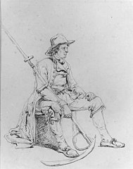 Seated Man with Skythe