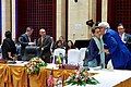 Secretary Kerry Greets Myanmar Foreign Minister Aun San Suu Kyi in Vientiane, Laos (28459380591).jpg