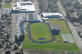 Sedro-Woolley High School aerial photograph looking east with muted background
