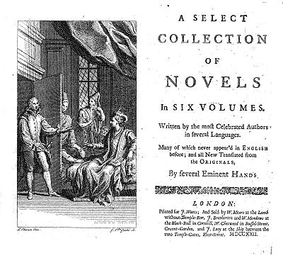 Classics of the novel from the sixteenth century onwards: title page of A Select Collection of Novels (1720-22).