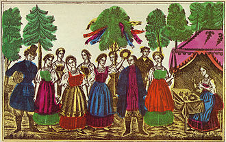 Green week - Semik. Russian lubok. 19th century