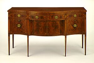 Serpentine shape - A serpentine-front sideboard (United States,1785-1800).
