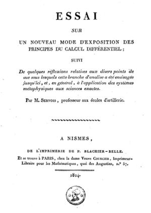 Francois-Joseph Servois - Frontpage of Servois' Essai (1814)