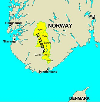 Setesdal - Setesdal is north of Kristiansand