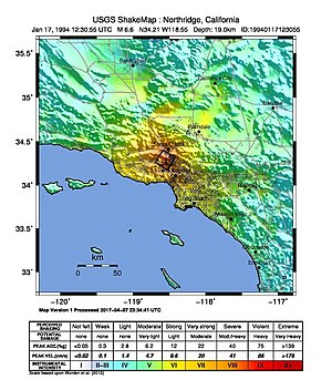 1994 Northridge earthquake - Map of perceived intensity of shaking