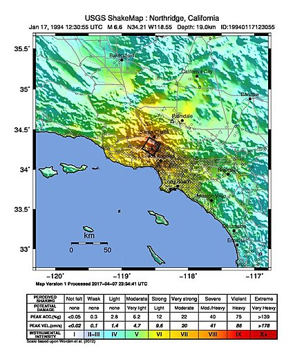 Northridge earthquake shake map Shake Map Northridge 1994.jpg