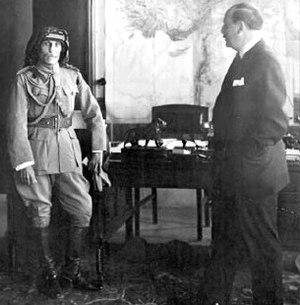 Ramadan al-Shallash - Shallash (left) surrendering to High Commissioner Henry de Jouvenel (right) in January 1926