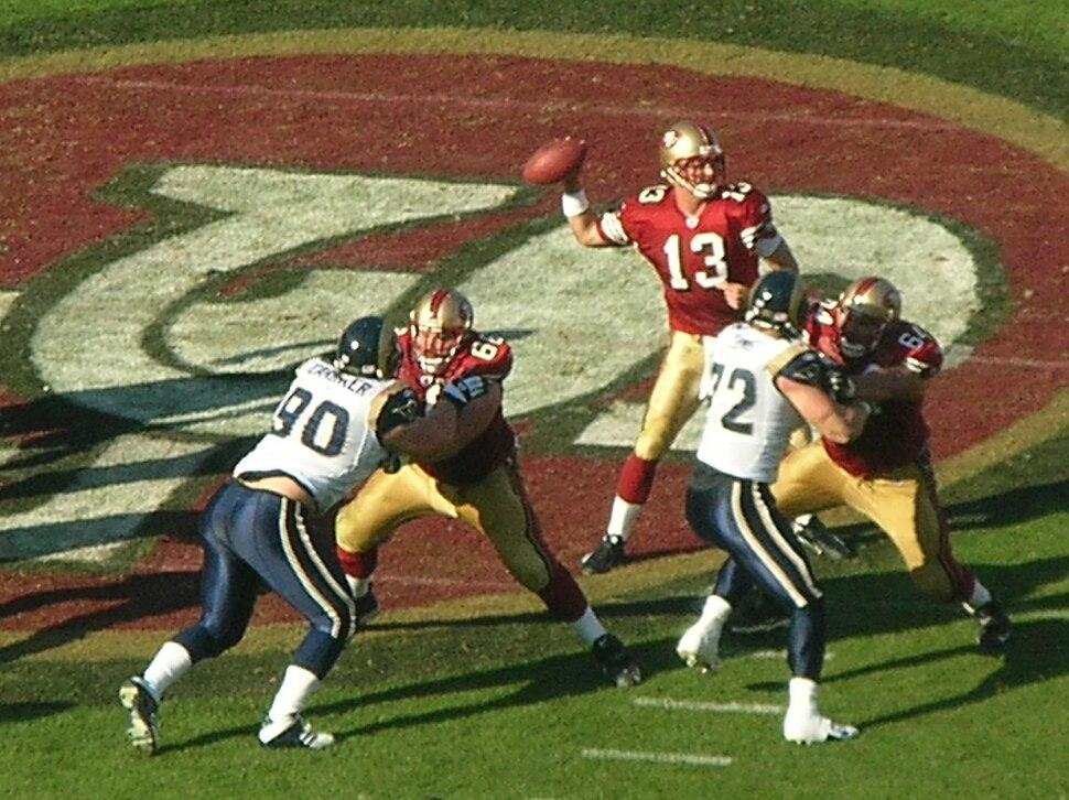 Shaun Hill passes at Rams at 49ers 11-16-08 2