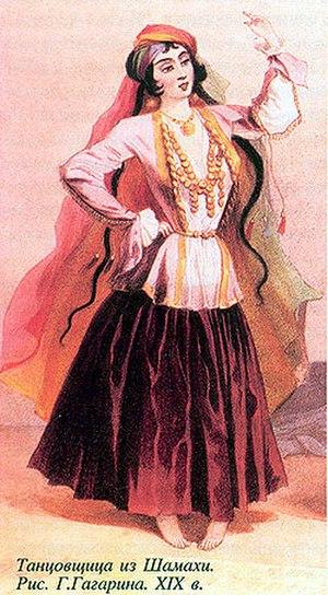 Arkhalig - A 19th-century Azeri dancer from Shamakhi wearing an arkhalig