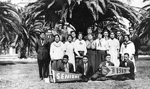 Sherman Indian High School - Class photo of graduating seniors at the Sherman Institute, 1919.