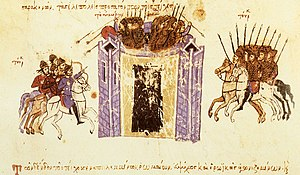 Khaydhar ibn Kawus al-Afshin - Miniature from the Madrid Skylitzes manuscript depicting the Arab siege of Amorium