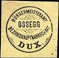 Siegelmarke Bürgermeisteramt Ossegg - Bezirkshauptmannschaft Dux W0308975.jpg
