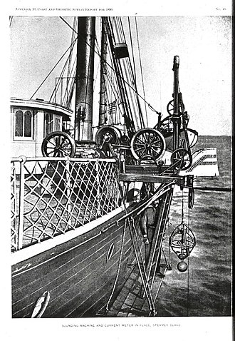 "U.S. National Geodetic Survey - Sigsbee Sounding Machine – invented by Charles Dwight Sigsbee and modified from Thomson Sounding Machine. Basic design of ocean sounding instruments stayed the same for the next 50 years. Here the sounding machine is used to set a Pillsbury current meter at a known depth. In: The Gulf Stream, by John Elliott Pillsbury, 1891. Note caption on photo: ""Sounding Machine And Current Meter In Place, Steamer Blake"""