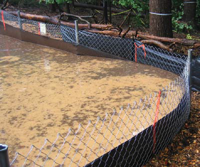 Silt fence & chain link support