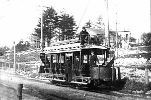Toronto and Mimico Electric Railway and Light Company - Single truck double deck car in 1891.