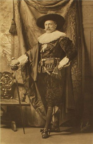Willem van Heythuysen Posing with a Sword - Edgar Vincent, 1st Viscount D'Abernon dressed as the Frans Hals painting Portrait of Willem van Heythuysen posing with a sword, for a costume ball in 1897, by James Lafayette