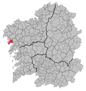 Muros, A Coruña - Location of Muros in Galicia.
