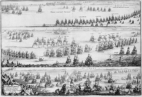 A black and white engraving showing three stages of a naval battle in horizontally arranged panels