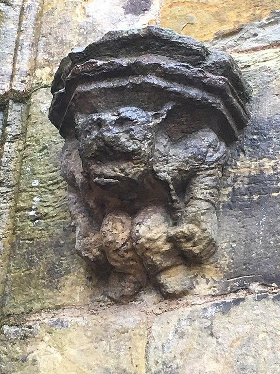 Small gargoyle on Rosslyn Chapel in Scotland
