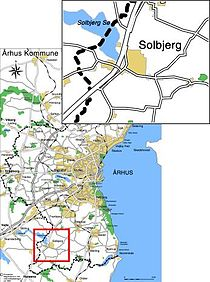 Solbjergs placering relativ til Aarhus