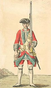 A soldier of the 39th Regiment of Foot stands with his rifle (c. 1742)