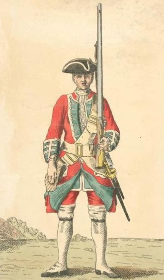 39th (Dorsetshire) Regiment of Foot - Soldier of 39th regiment, 1742