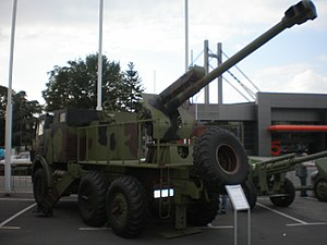 "Sora 122mm - Sora 122mm self-propelled gun-howitzer on display at ""Partner 2009"" military fair."